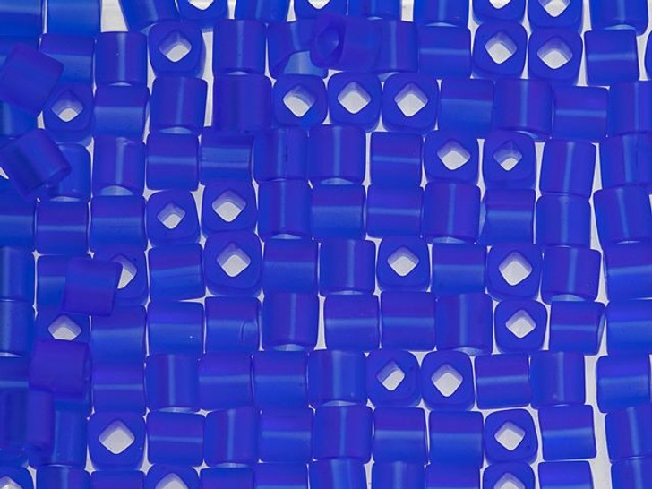 TOHO Bead Cube 4mm Transparent-Frosted Sapphire 2.5-Inch Tube