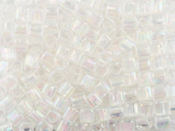 TOHO Bead Cube 4mm Trans-Rainbow Crystal 2.5-Inch Tube