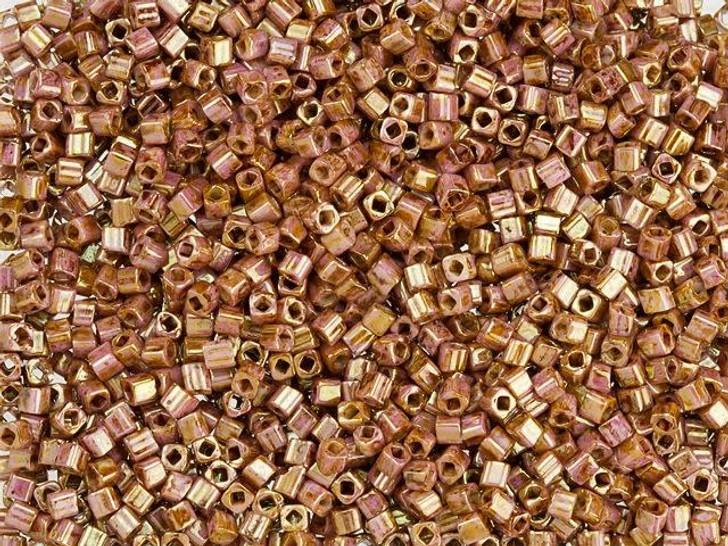 TOHO Bead Cube Hybrid 1.5mm Opaque Rose-Gold Topaz Luster 2.5-Inch Tube