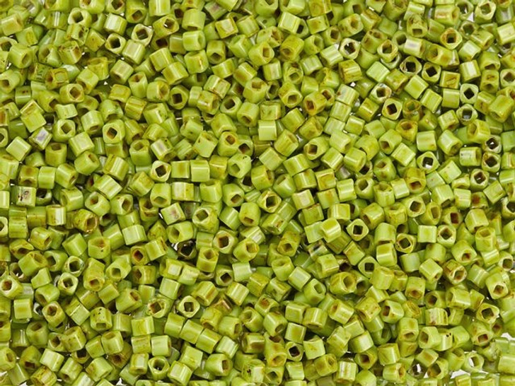 TOHO Bead Cube Hybrid 1.5mm Sour Apple with Picasso Finish 2.5-Inch Tube