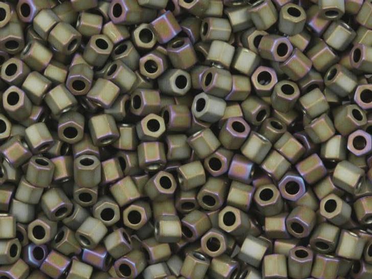 TOHO Bead Hex 8/0 Matte Raku Olive/Purple 2.5-Inch Tube