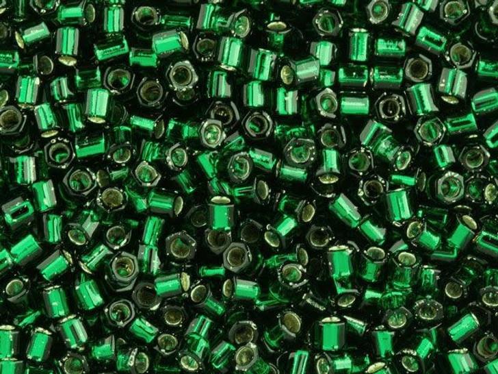 TOHO Bead Hex 8/0 Silver-Lined Emerald 2.5-Inch Tube