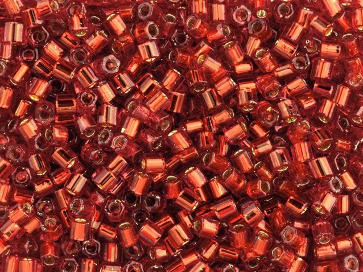 TOHO Bead Hex 8/0 Silver-Lined Ruby 2.5-Inch Tube