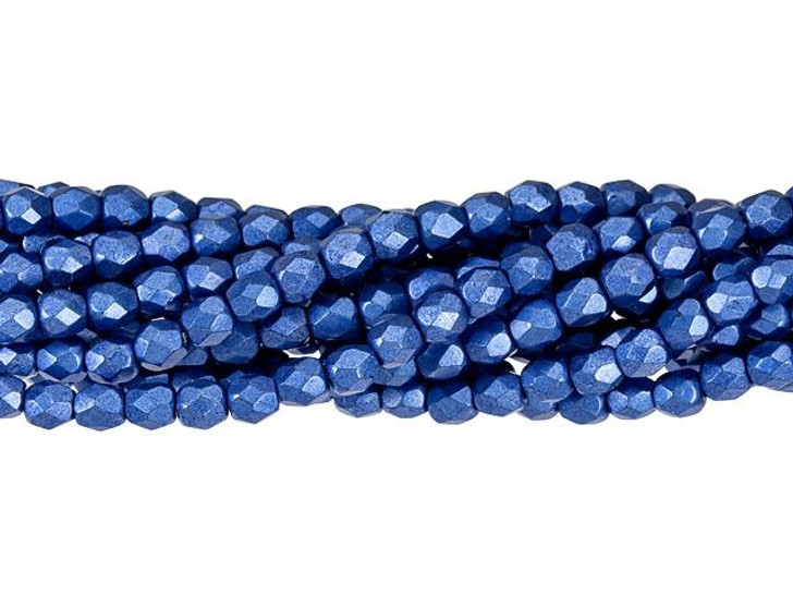Czech Glass 4mm ColorTrends Saturated Metallic Navy Peony Fire-Polished Bead Strand by Starman