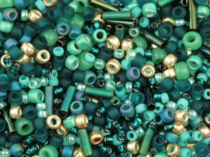 TOHO Bead Mix Mint/Forest and Gold 2.5-Inch Tube