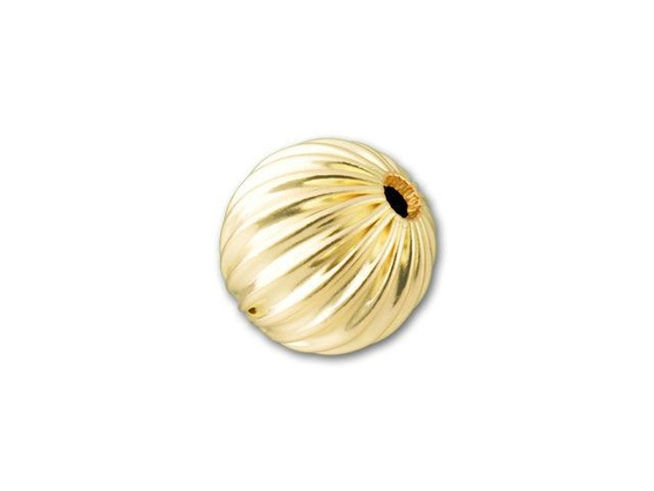 8mm Gold-Filled Round Corrugated Bead
