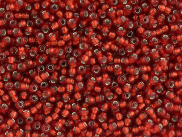 TOHO Bead Round 11/0 Frosted Silver-Lined Ruby, 2.5-Inch Tube