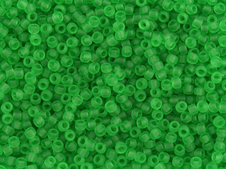 TOHO Bead Round 11/0 Frosted Transparent Peridot, 2.5-Inch Tube