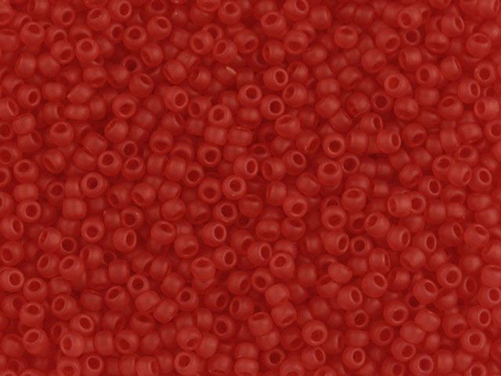 TOHO Bead Round 11/0 Frosted Transparent Ruby, 2.5-Inch Tube