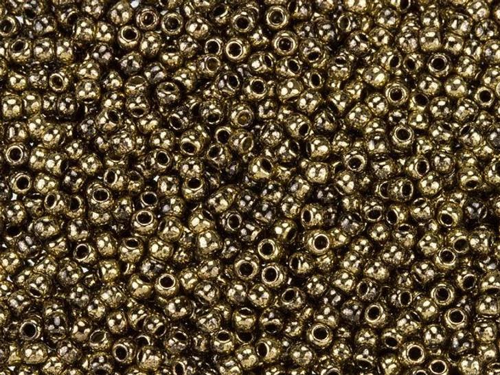 TOHO Bead Round 11/0 Gilded Black Marbled, 2.5-Inch Tube
