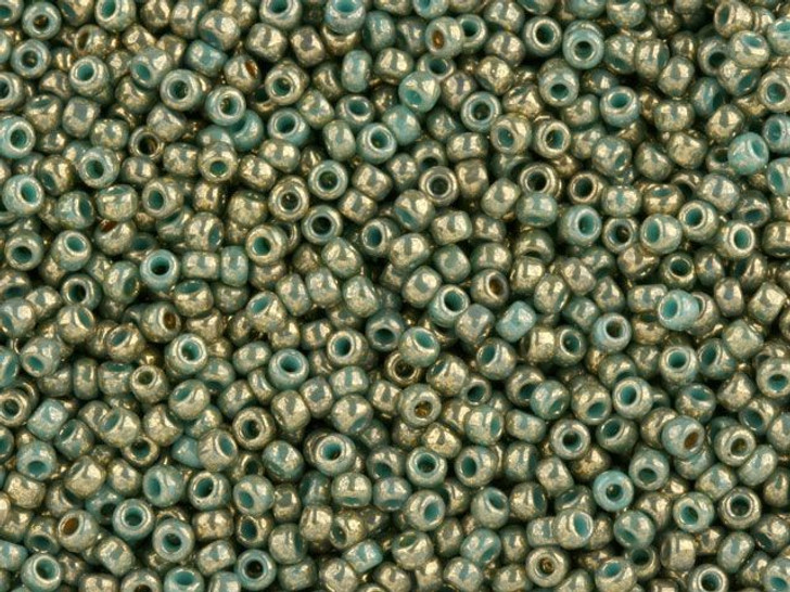 TOHO Bead Round 11/0 Gilded Opaque Turquoise Marbled, 2.5-Inch Tube