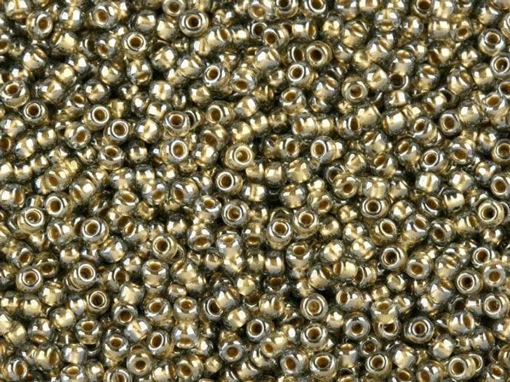 TOHO Bead Round 11/0 Gold Lined Black Diamond, 2.5-Inch Tube