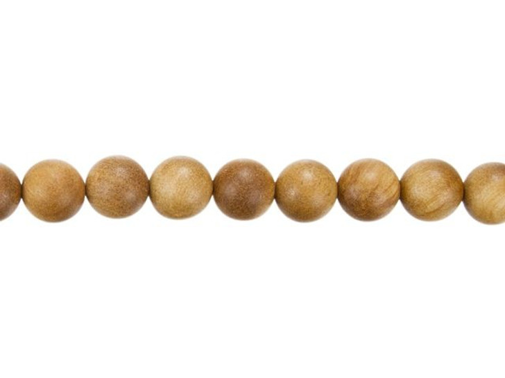 8mm Round Light Brown Sandalwood Scented Mala Bead Strand