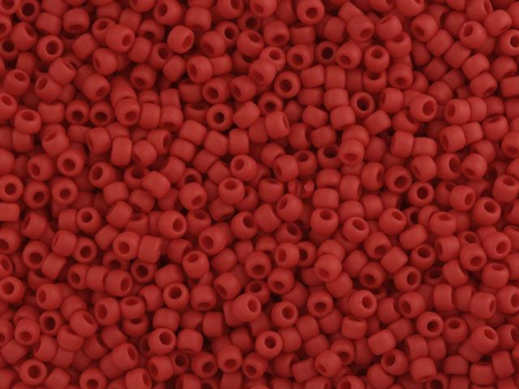 TOHO Bead Round 11/0 Matte Opaque Pepper Red, 2.5-Inch Tube