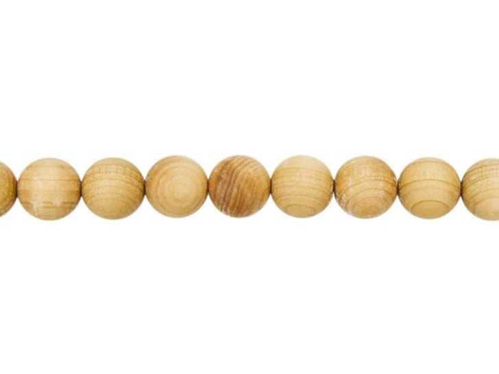 8mm Round Natural Cedarwood Scented Mala Bead Strand