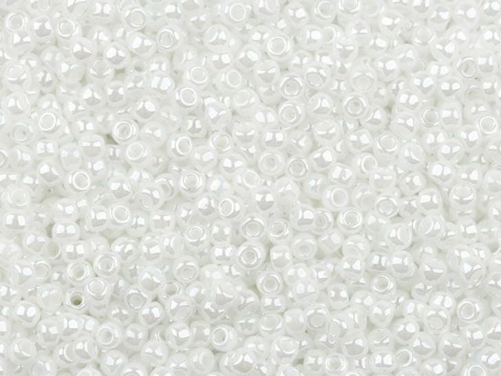 TOHO Bead Round 11/0 Opaque-Lustered Pearl Crystal, 2.5-Inch Tube