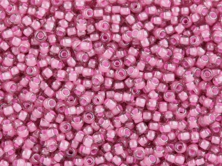 TOHO Bead Round 11/0 Pink Lined Pink, 2.5-Inch Tube