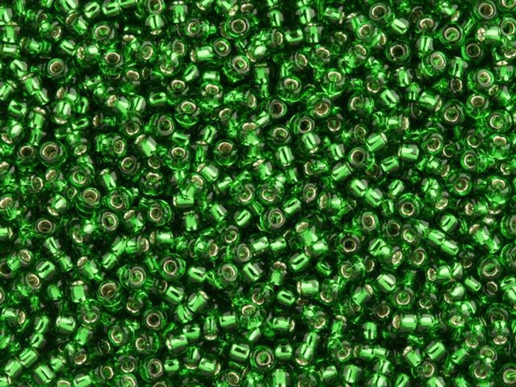 TOHO Bead Round 11/0 Silver-Lined Grass Green, 2.5-Inch Tube