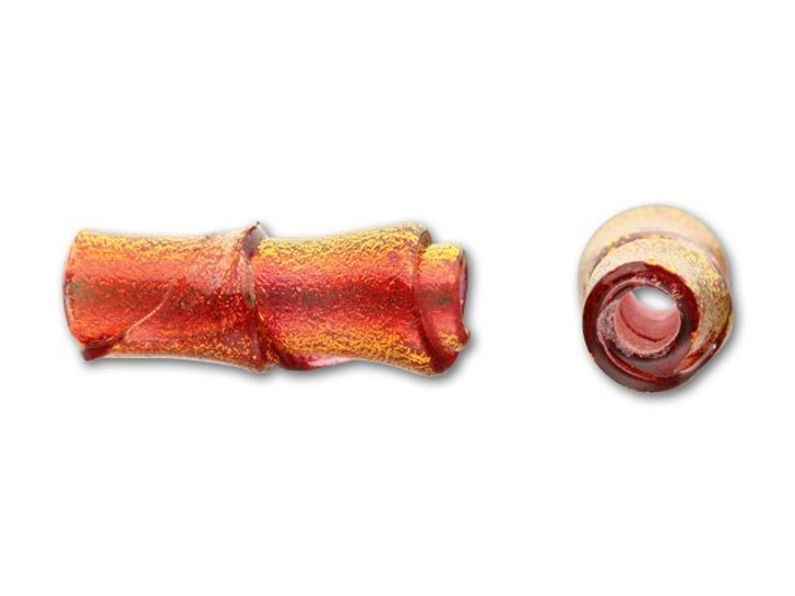 8x16mm Glass Bamboo Bead - Candy on Sunset Coral