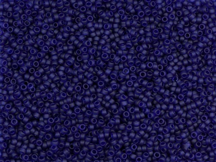 TOHO Bead Round 15/0 Frosted Transparent Dark Sapphire, 2.5-Inch Tube