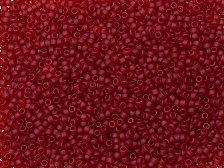 TOHO Bead Round 15/0 Frosted Transparent Ruby 2.5-Inch Tube