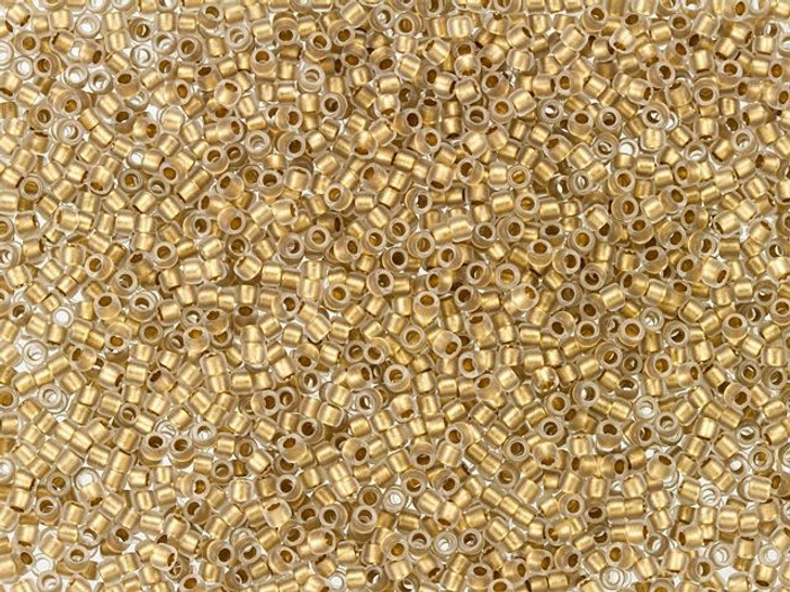 TOHO Bead Round 15/0 Gold-Lined Frosted Crystal 2.5-Inch Tube