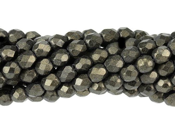 Czech Glass 4mm Metallic Suede Dk Green Fire-Polished Bead Strand by Starman