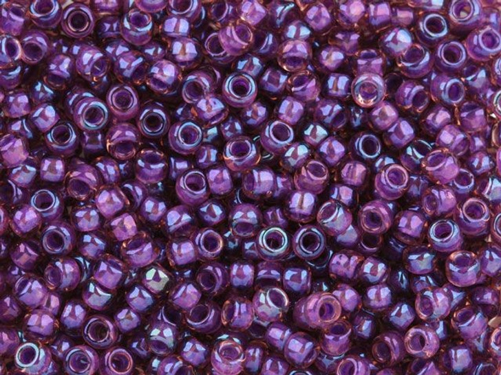 TOHO Bead Round 8/0 Color-Lined Purple/Rosaline AB, 2.5-Inch Tube