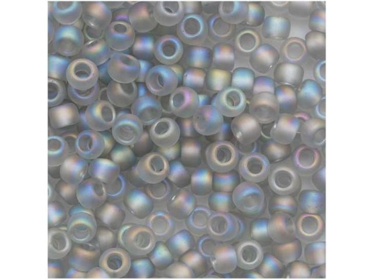 TOHO Bead Round 8/0 Frosted Trans-Rainbow Soft Gray, 2.5-Inch Tube