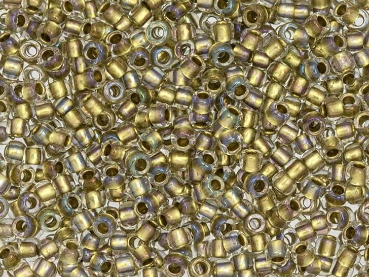 TOHO Bead Round 8/0 Gold-Lined Crystal AB, 2.5-Inch Tube