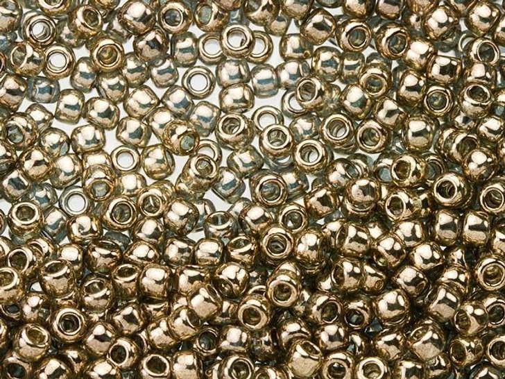 TOHO Bead Round 8/0 Gold-Lustered Montana Blue, 2.5-Inch Tube