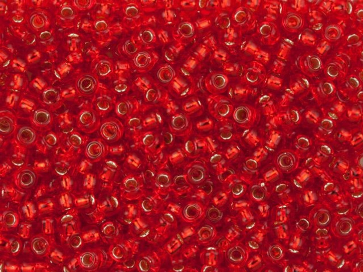 TOHO Bead Round 8/0 Silver-Lined Siam Ruby, 2.5-Inch Tube