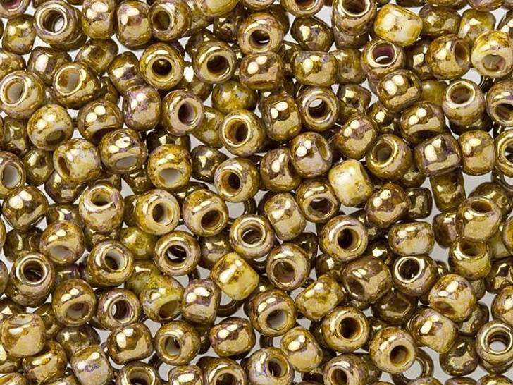 TOHO Bead Round Hybrid 6/0 Opaque Gold Smoky Topaz Luster 2.5-Inch Tube