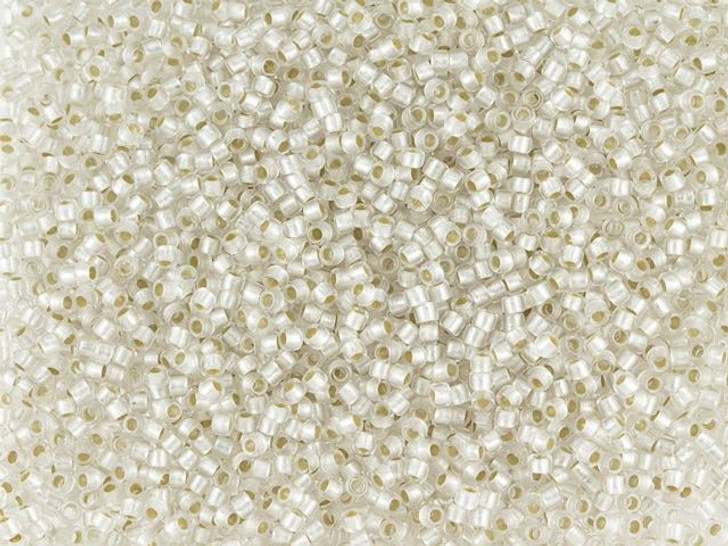 TOHO Round Bead 15/0 PermaFinish Silver-Lined Frosted Crystal 2.5-Inch Tube