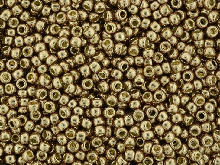 TOHO Round Bead 8/0 PermaFinish Galvanized Almond 2.5-Inch Tube