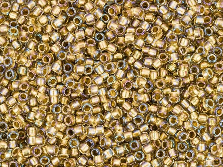TOHO Takumi Large-Hole Round 11/0 Bead - Gold-Lined Crystal, 8g bag