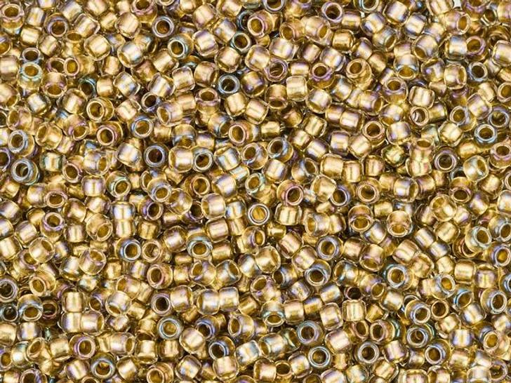 TOHO Takumi Large-Hole Round 11/0 Bead - Gold-Lined Crystal, 2.5-Inch Tube
