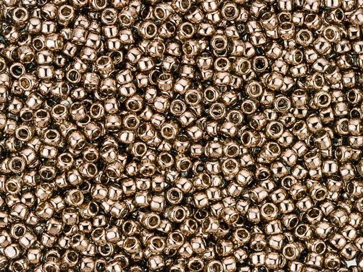 TOHO Takumi Large-Hole Round 11/0 Bead - Gold-Lustered Montana Blue, 2.5-Inch Tube