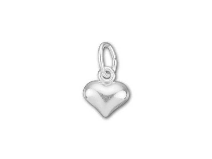 Silver-Filled 925/10 Tiny Puffed Heart Charm