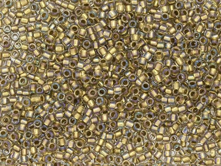 TOHO Takumi Large-Hole Round 11/0 Seed Bead Inside-Color Crystal/24K Gold-Lined, 2.5-Inch Tube