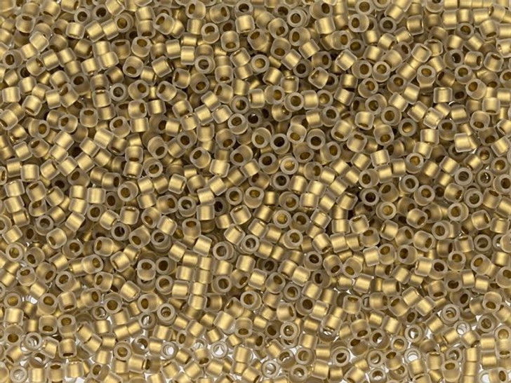 TOHO Treasure 11/0 24K Gold-Lined Frosted Crystal, Seed Bead 2.5-Inch Tube