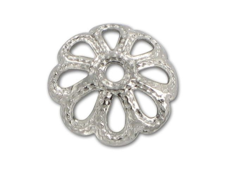 9mm Nickel-Plated Dotted Bead Cap
