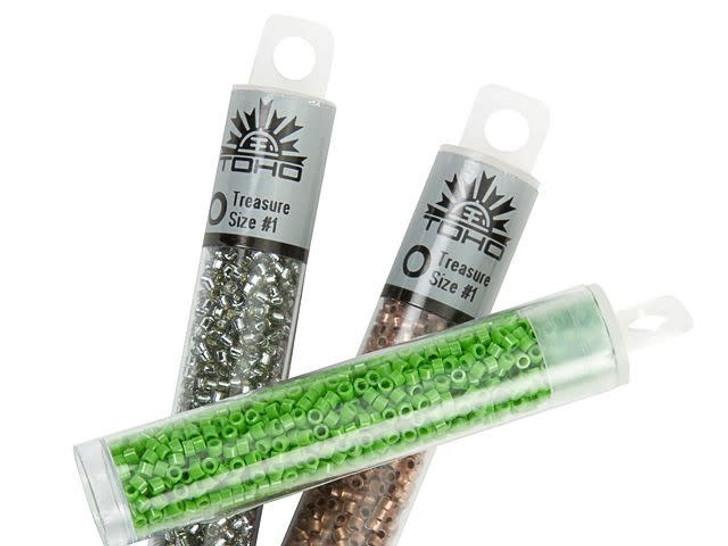 TOHO Treasure 11/0 PermaFinish Galvanized Green Teal Seed Bead 2.5-Inch Tube