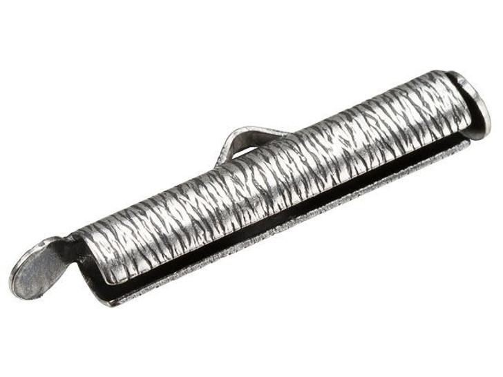 Alacarte 24mm Antique Silver-Plated Brass Crimp End Tube