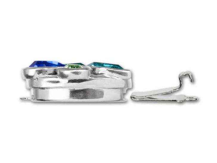 Alacarte Rhodium-Plated Sapphire, Light Turquoise and Peridot Swarovski Crystals Montage Clasp