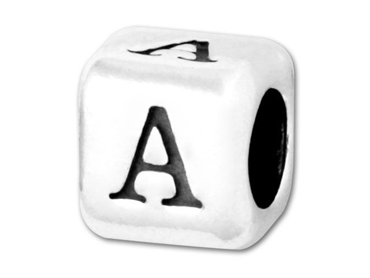 Alphabet Bead 5.8mm Rounded Cube - A
