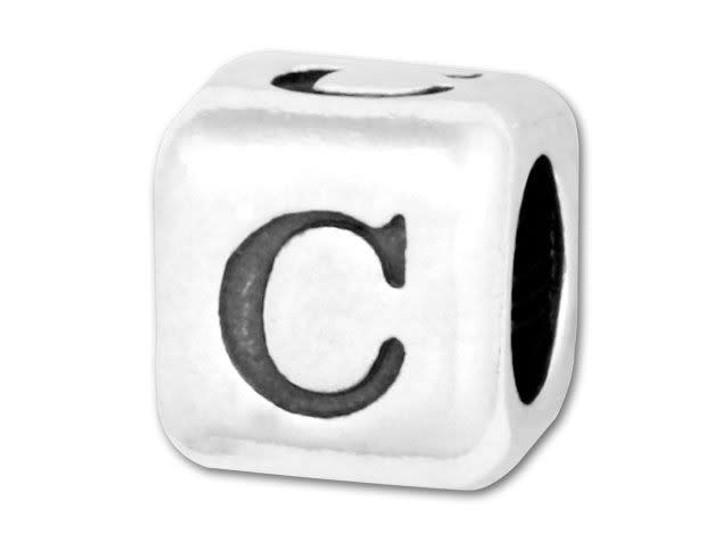 Alphabet Bead 5.8mm Rounded Cube - C