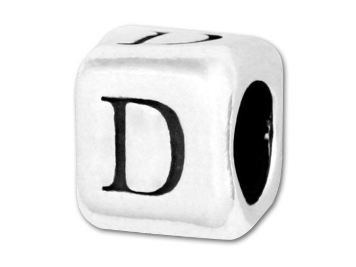 Alphabet Bead 5.8mm Rounded Cube - D