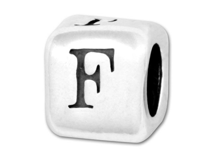 Alphabet Bead 5.8mm Rounded Cube - F