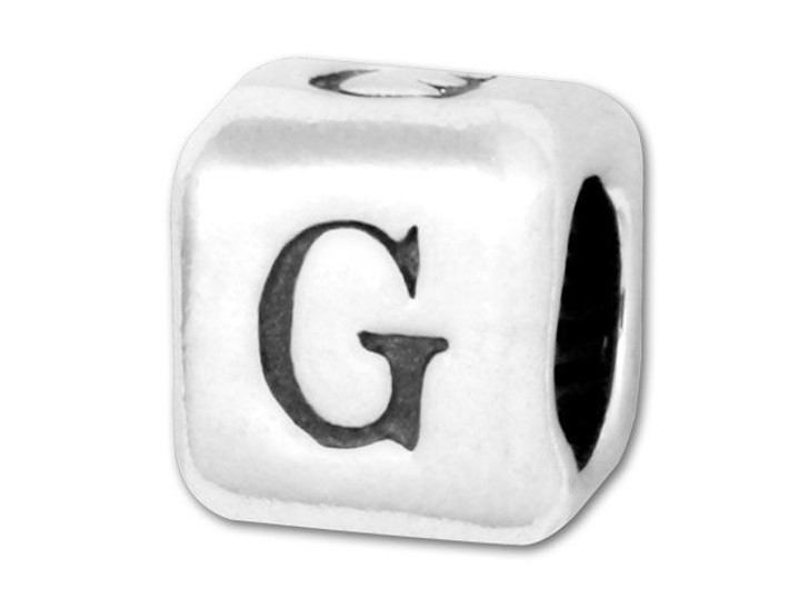 Alphabet Bead 5.8mm Rounded Cube - G